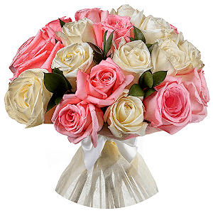 Букет из 35 белых и розовых роз